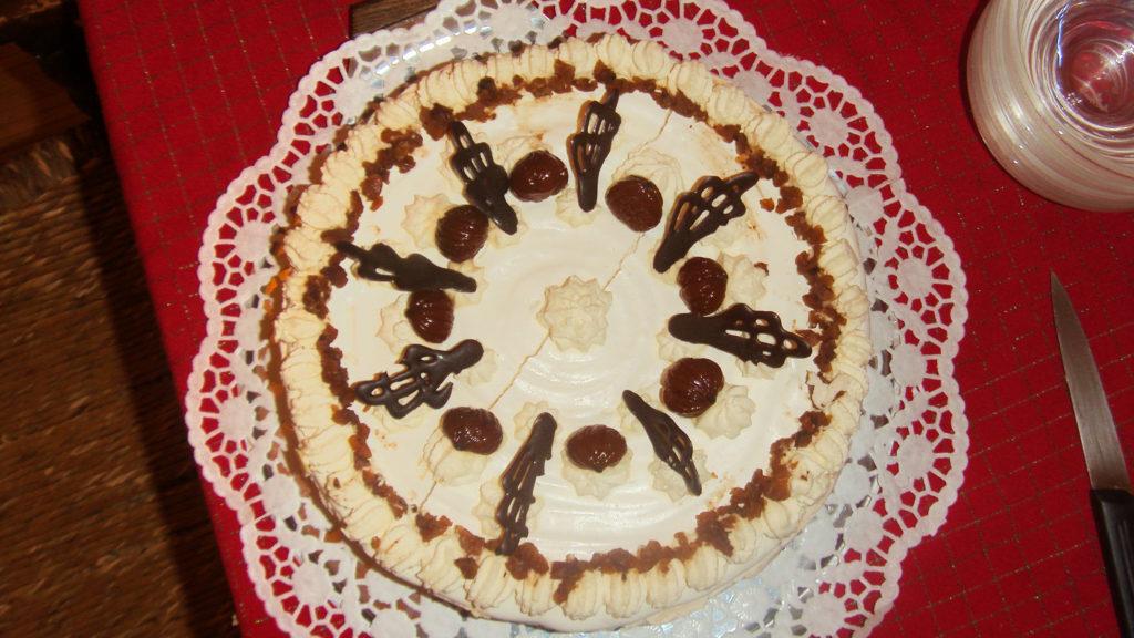 Meringata cioccolato e marrons glacées