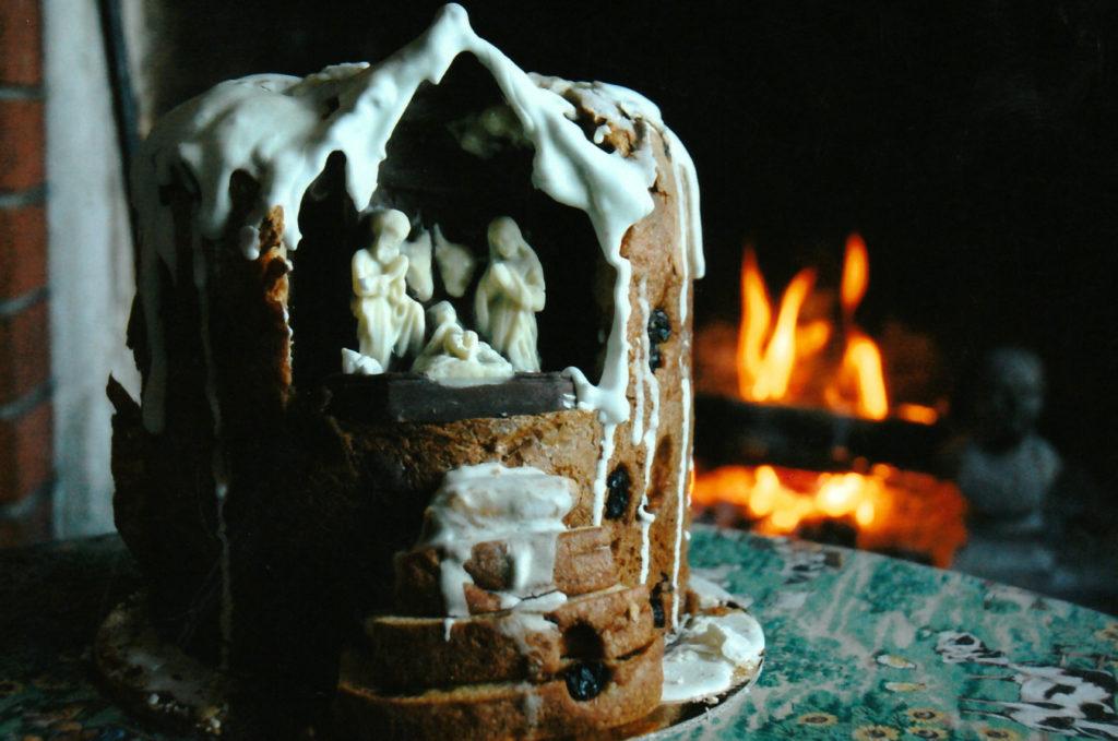 Presepio di cioccolato nel panettone